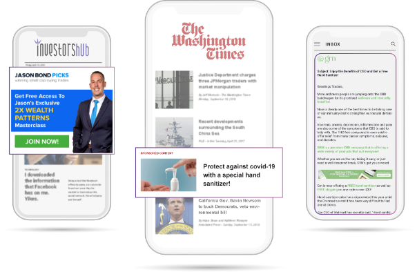 Mobile phones, displaying Investorshub, The Washington Times and GRN's pages with ads